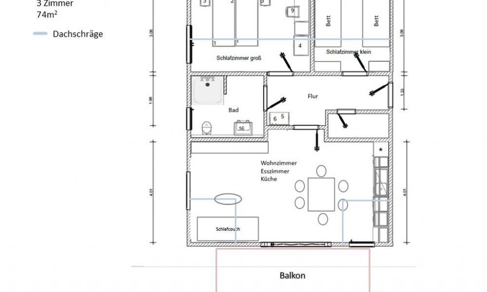 möblierter Raumplan Wohnung 4 Brenz