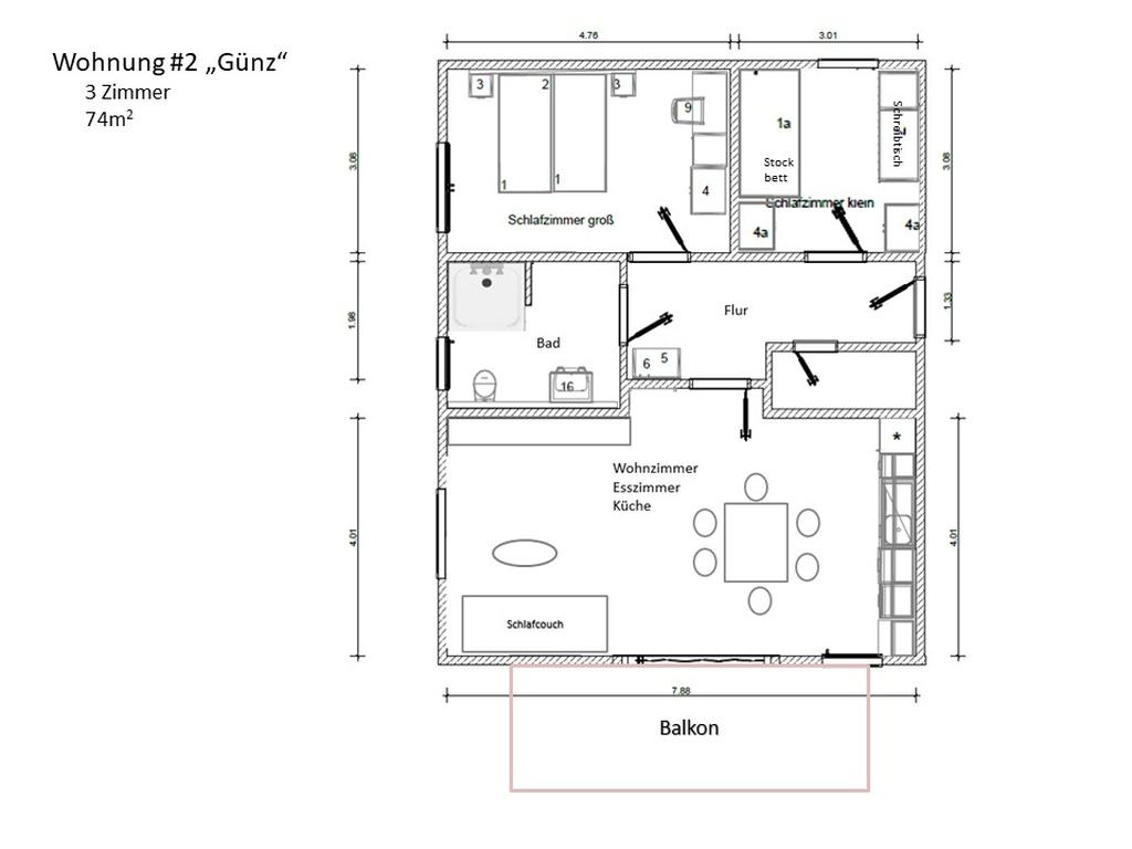 möblierter Raumplan Wohnung 2 Günz