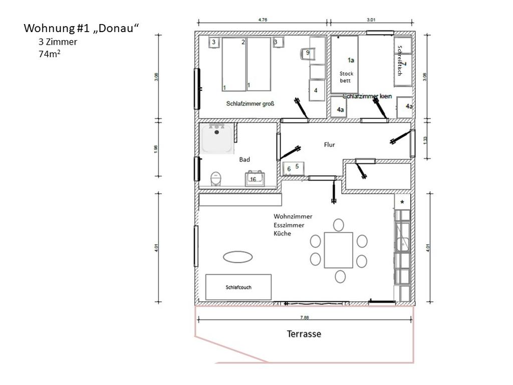 möblierter Raumplan Wohnung 1 Donau