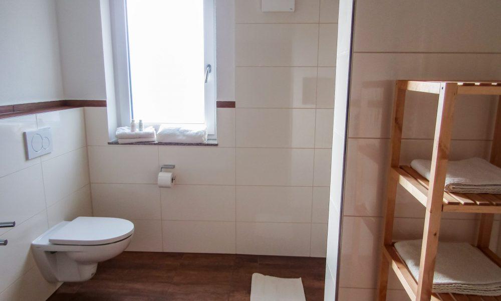 Toilette Duschkabine und Regal für Handtücher